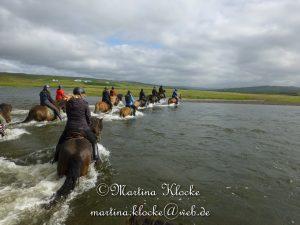 Beim Reiten in Island wird auch schon mal ein Fluss durchquert.
